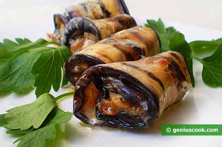 The Rolls with Eggplant and Mushrooms