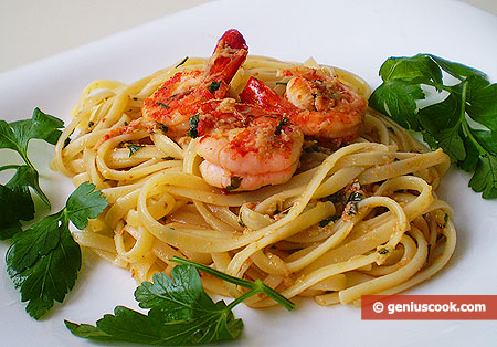 Trenette with Shrimps in Orange Ginger Sauce