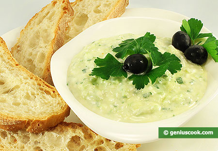 Tzatziki with Feta Cheese and fresh homemade bread