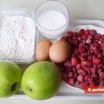 Ingredients for Apple Fritters with Strawberry Sauce