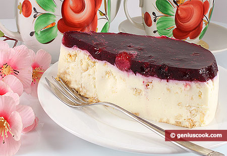 Piece of Cheesecake with Berries and Popped Rice