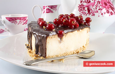 A Piese of Cheesecake with Chocolate