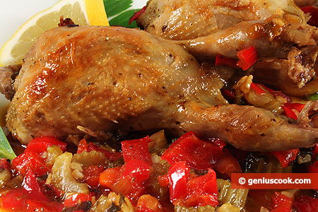 Quails with Sweet Peppers and Celery