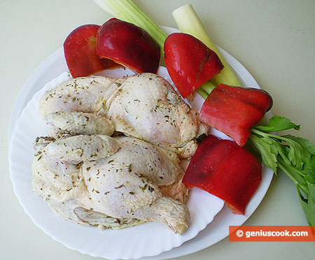 Ingredients for Stewed Chicken with Sweet Pepper