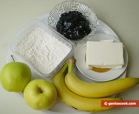 Ingredients for Cake with Apples and Bananas