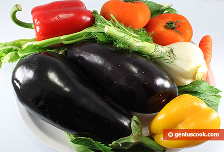 Ingredients for Baked Eggplant with Vegetables