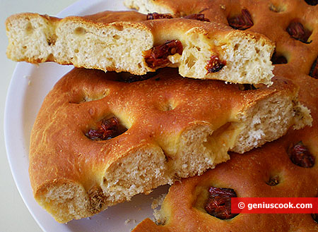 Piece of Focaccia with Anchovy and air-dried Tomatoes