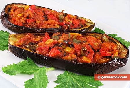 Baked Eggplant Boats with Vegetables