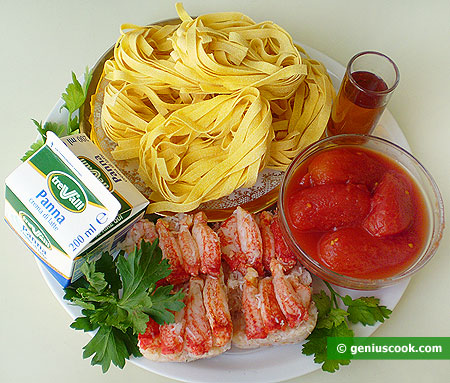 Ingredients for Fettuccine with Crab Sauce