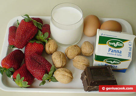 Ingredients for Chocolate Pudding with Strawberry