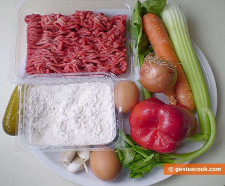 Ingredients for Meatball Soup with Garlic Dumplings