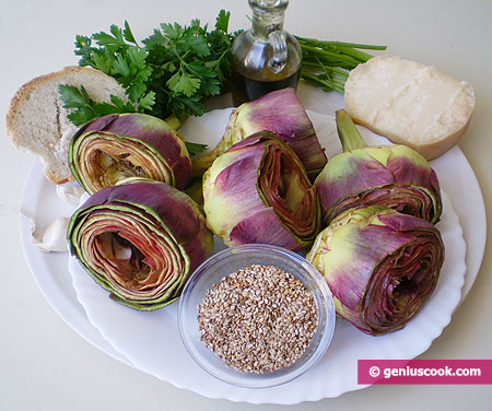 Ingredients for Artichokes Stuffed with Cheese and Sesame Recipe