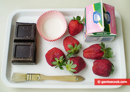 Ingredients for Chocolate Baskets with Cream and Strawberries
