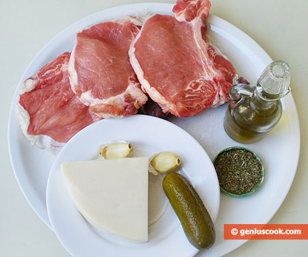 Ingredients for Rolls from Pork Fillet with Cheese and Cucumber