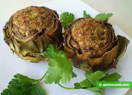 The Artichokes Stuffed with Cheese and Sesame