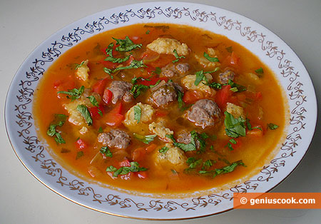 Meatball Soup with Garlic Dumplings