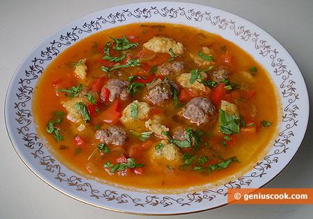Meatball Soup with Garlic Dumplings