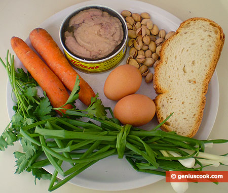 Ingredients for Salad with Cod Liver