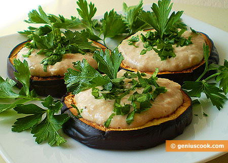 Grilled Eggplants with Cod Liver