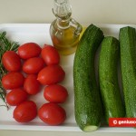 Ingredients for Fried Tomatoes and Zucchini