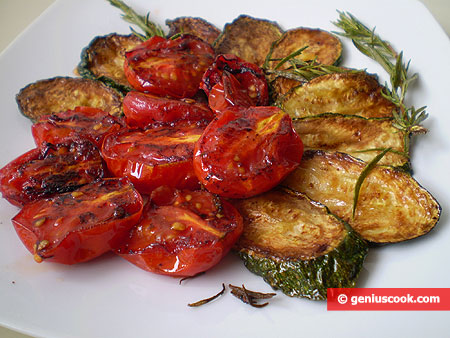 Fried Tomatoes and Zucchini with Rosemary