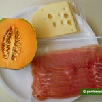 Ingredients for Appetizer from Ham, Cheese and Melon