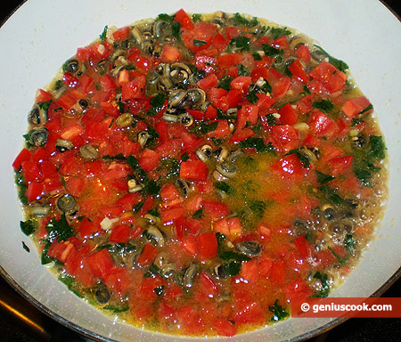 add white wine and tomatoes