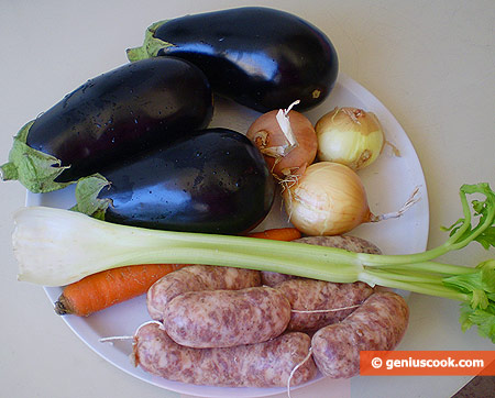 Ingredients for Eggplants Stuffed with Small Sausages