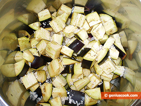 Cut eggplants into cubes and salt