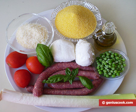Ingredients for stuffed, baked polenta
