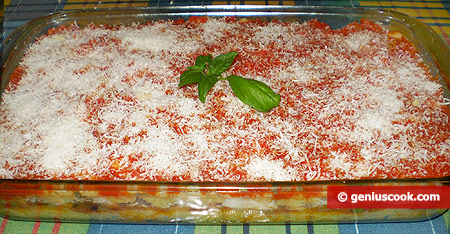 Polenta is formed to go into the oven