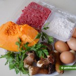 Ingredients for Ravioli with Pumpkin, Meat and Mushrooms