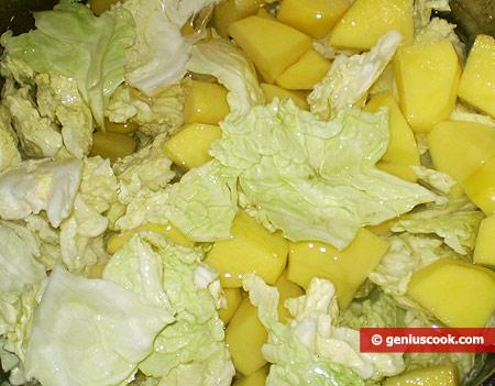 Boil potato and cabbage