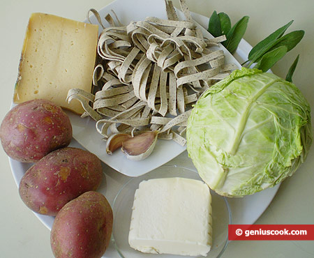 Ingredients for Pizzoccheri with potatoes and cabbage