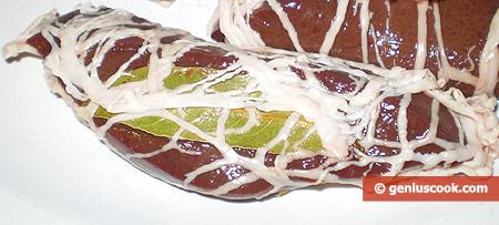 Wrap each piece in a Caul Fat