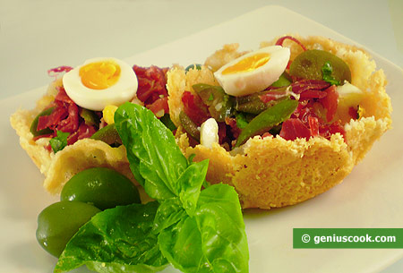 Cheese Baskets with Salad
