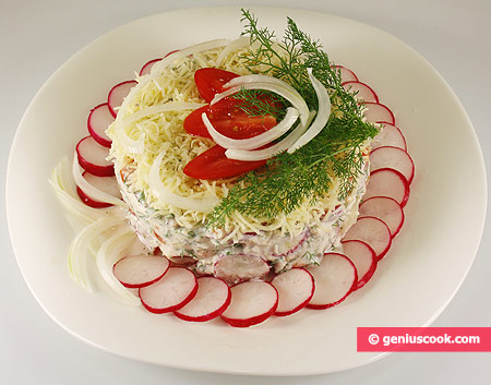 Salad with Radish, Tomatoes and Greek Yoghurt