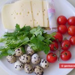 Ingredients for Canape with Quail eggs, Cheese and Tomatoes