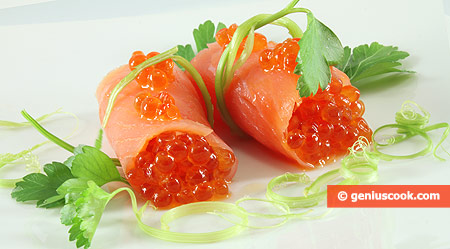 Salmon Rolls with Red Caviar