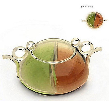 Teapot with two handles, for green and black tea