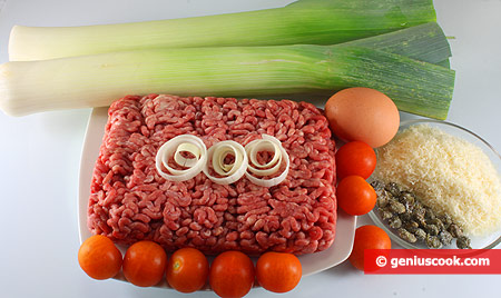 Ingredients for Leek Stuffed with Meat