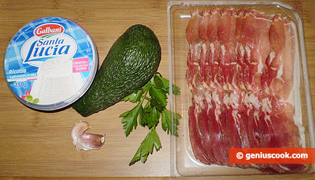 Ingredients for Rolls with Ham and Avocado Cream