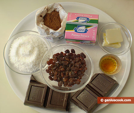 Ingredients for Chocolate Truffles with Raisin