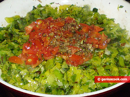 leek, capers and tomatoes