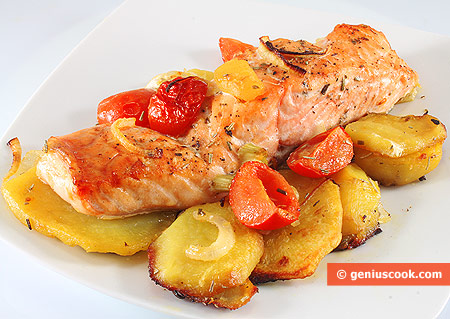 The Oven-Baked Salmon with Potatoes