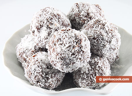 Chocolate Truffles with Raisin in Coconut Shavings