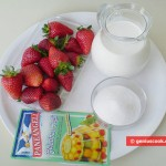 Ingredients for Milk Jelly with Strawberry