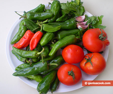 Ingredients for Fried Peppers in Tomato Sauce