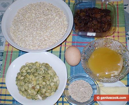 Ingredients for Granola Sticks with Pumpkin Seeds
