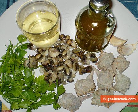 Ingredients for Sea Snails in White Wine